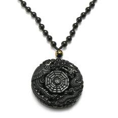 Jual Natural Obsidian Berukir Naga Cina Phoenix Bagua Lucky Pendant Kalung Online Tiongkok