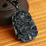 Spek Natural Obsidian Fashion Dragon Pendant Necklace Men Lucky Jewelry Intl Hong Kong Sar Tiongkok