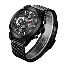 Naviforce 9068 Jam Tangan Pria - Full Black Jarum Silver