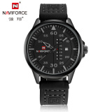 Toko Naviforce 9074 Men Watch Sports Casual Suede Leather Band Waterproof Wristwatch Black Di Indonesia