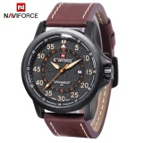 Diskon Produk Naviforce 9076 Pria Quartz Watch Date 24 Jam Tampilan 3Atm Pita Kulit Jam Tangan Allwin Internasional