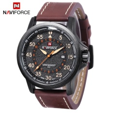 Model Naviforce 9076 Pria Quartz Watch Date 24 Jam Tampilan 3Atm Pita Kulit Jam Tangan Allwin Internasional Terbaru