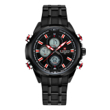 Promo Naviforce Full Steel Quartz Digital Led Military Wrist Watch Nf9049 Red Color Naviforce