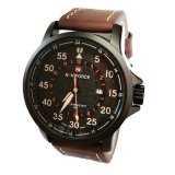 Spesifikasi Naviforce Jam Tangan Kasual Pria Leather Strap Nf9076 Dark Brown Lengkap
