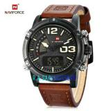 Spek Naviforce Men Watches Dual Time Genuine Leather Strap Nf9095D1 Dki Jakarta
