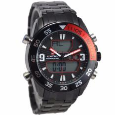 Jual Naviforce Nf09851 Dual Time Jam Tangan Pria Stainless Steel Hitam Merah Naviforce Asli
