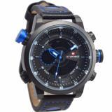 Harga Naviforce Nf09852 Dual Time Jam Tangan Pria Strap Kulit Hitam Biru Yg Bagus