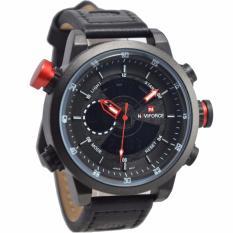 Beli Naviforce Nf09852 Dual Time Jam Tangan Pria Strap Kulit Hitam Merah Secara Angsuran