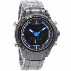 Cara Beli Naviforce Nf09861 Dual Time Jam Tangan Pria Stainless Steel Hitam Biru
