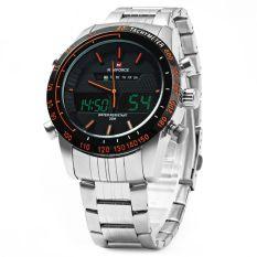 Diskon Besarnaviforce Nf9024 Dual Movt Men Quarz Watch Analog Digital Led Orange Intl