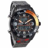 Model Naviforce Nf9047M Jam Tangan Pria Dual Time Stainless Steel Hitam Orange Terbaru