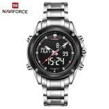 Spesifikasi Naviforce Nf9050 Movt Ganda Pria Quarz Perhiasan Sejalan Digital Memimpin Perak Merk Naviforce