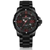 Harga Termurah Naviforce Nf9078 Stylish Men S Stainless Steel Quartz Wrist Watch Hitam Dan Merah Intl