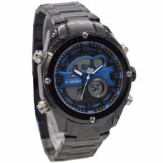 Promo Naviforce Nf9088Mb Dual Time Jam Tangan Pria Stainless Steel Hitam Biru Di Indonesia