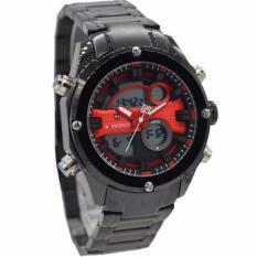 Beli Naviforce Nf9088Mb Dual Time Jam Tangan Pria Stainless Steel Hitam Merah Baru