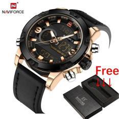 Review Naviforce Top Merek Mewah Pria Quartz Digital Watch Jam Tangan Es Men Fashion Olahraga Jam Man Kulit Militer Watch Jam Tangan