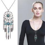 Jual Kalung Eropa Dan Amerika Serikat Campuran Perhiasan Turquoise Dream Catcher Pendant Kalung Bulu Jumbai Set Rantai Bohemian Aksesoris Intl