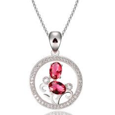 Kalung & Pendants Solid 925 Sterling Kotak Perak Rantai Pertunangan Pernikahan untuk Wanita Fine Jewelry (merah)