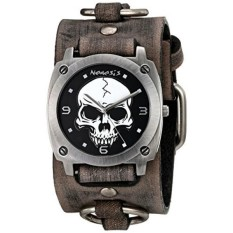 Nemesis Mens 926FRB Heavy Duty Skull Series Analog Display Japanese QUARTZ Grey Watch-Intl