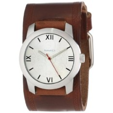 Nemesis Mens BHST068S Elite Collection Silver Roman Numeral Leather Band Watch-Intl