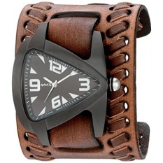Nemesis Mens Ion-Plated IP Teardrop Quartz Stainless Steel and Leather Watch, Color:Brown (Model: VBDB061W) - intl