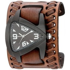 Nemesis Mens Berlapis Ion IP Teardrop QUARTZ Stainless Steel dan Leather Watch, Warna: Coklat (Model: VBDB061W)-Intl