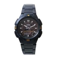 Neo Digitec Dual Time - Jam Tangan Sporty Pria  - DG 1003 Body + Bezel Hitam List Kuning - Stainless Steel