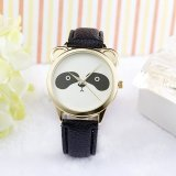Spesifikasi Neutral Diamond Lovely Panda Face Faux Leather Quartz Watch Black Dan Harganya