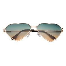 Netral Fancy Classic Metal Love Pria & Wanita Sunglasses Sunglasses-Emas Bingkai Hijau Di Bawah Orange