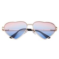 Netral Fancy Classic Metal Love Pria & Wanita Sunglasses Kacamata-Emas Frame Biru Di Bawah Biru-Intl
