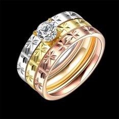 Baru 3 Pcs Fashion Zircon Double Ring Titanium Baja Pernikahan Cincin untuk Wanita Pria Perhiasan Hadiah-US Ukuran 8 -Intl