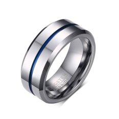 BARU 8mm Biru & HITAM Pria Wolfram Karbida Cincin Buatan Tangan Gambar Kawat Pernikahan Band Mens Perhiasan -Intl