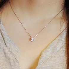 Baru 925 Sterling Silver Clavicle Rantai Zircon Pendant Necklace Fashion Wanita (Ukuran: Satu Ukuran-Intl
