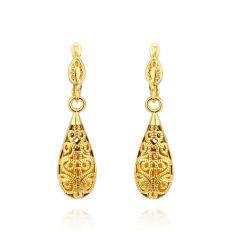 Jual New Antique Style Stunning Yellow Gold Plated Filigree Hollow Drop Earrings Di Bawah Harga