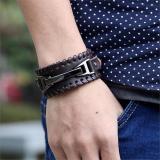 Gelang Pria New Brand Vintage Men Bracelets Bangles Dark Brown X01 Coklat Diskon Indonesia