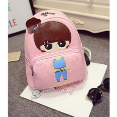 Top 10 New Cartoon Little G*rl Pu Leather Shoulder Bag Cartoon Series Backpack Children Student Bag Little G*rl 23×13×26Cm Intl Online