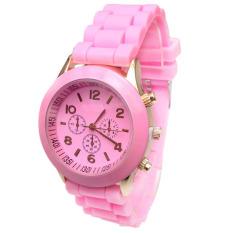 Baru Murah Geneva Silikon Band QUARTZ Jelly Wrist Jam Tangan untuk Wanita/Wanita/Cewek Pink