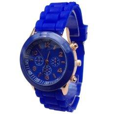 Baru Murah Geneva Silikon Band QUARTZ Jelly Wrist Jam Tangan untuk Wanita, China/Wanita/Cewek Dark Blue