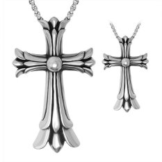 New Cross Kalung Berliontin Cross Grosir Perhiasan Bagus Fashion Plated Double Titanium Kalung Baja Besar-Intl