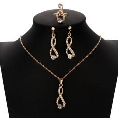 New Kristal Berlian Imitasi Perhiasan Set Fashion Warna Emas Bentuk Geometri Desain Kalung Earring Pendant Perhiasan untuk Wanita-Intl