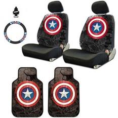 Desain Baru 8 Pieces Marvel Comic Kapten Amerika Mobil Kursi Sarung Floor Mats dan Pengemudian Roda Sarung Set dengan Udara penyejuk-Internasional