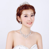 Promo Baru Elegan Mewah Set Anting Anting Berlian Imitasi Kalung Mutiara Mahkota Pernikahan