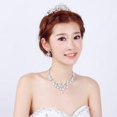 Promo Baru Elegan Mewah Set Anting Anting Berlian Imitasi Kalung Mutiara Mahkota Pernikahan Hong Kong Sar Tiongkok