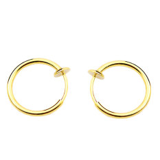 Baru Fashion 1 Pair Clip On Fake Cincin Hidung Telinga Anting Anting Non Piercing Gold