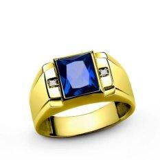 Baru Fashion 18 K Kuning Emas DISEPUH Sapphire, Topaz, Laki-laki Zamrud Cincin Kawin Ukuran: 8-15-Intl