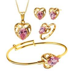 Kalung/Anting/Gelang/Cincin 18 Karat Berlapis Emas Model Bentuk Kristal Hati Set Perhiasan Untuk Anak Gadis S20172