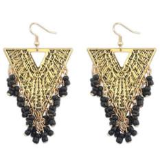 BARU Fashion Imitasi Gemstone India Earring Perhiasan Vintage Empat Warna Hollow Bead Rumbai Menjuntai Anting Bijoux (Hitam)