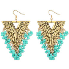 BARU Fashion Imitasi Gemstone India Earring Perhiasan Vintage Empat Warna Hollow Bead Rumbai Menjuntai Anting Bijoux (Hijau)