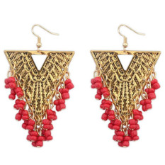 BARU Fashion Imitasi Gemstone India Earring Perhiasan Vintage Empat Warna Hollow Bead Rumbai Menjuntai Anting Bijoux (Merah)