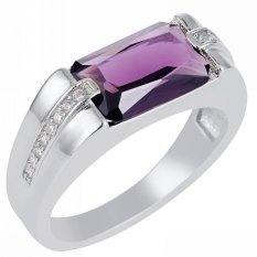 Beli Baru Fashion Perhiasan Amethyst Zircon 18Kt Emas Disepuh Wedding Ring Hadiah Ukuran 8 Sampai 15 Gr69488 Intl Oem
